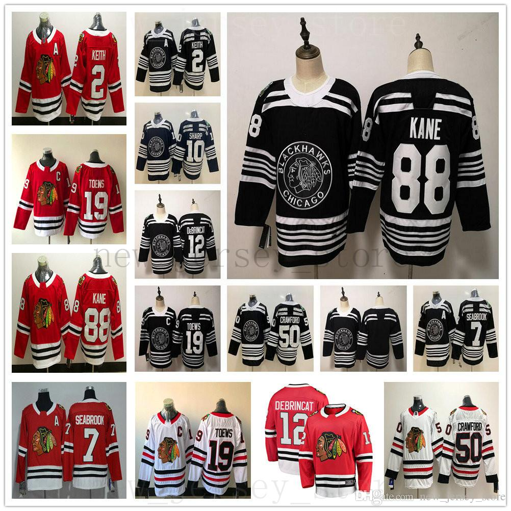 da2578fd1 2019 2019 Black Winter Classic Chicago Blackhawks Jersey 19 Jonathan Toews  88 Patrick Kane 2 Duncan Keith 12 Alex DeBrincat 7 Brent Seabrook Mens From  ...