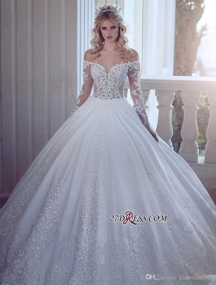 5156c974520 Luxury Ball Gown Wedding Dresses With Long Sleeve Off The Shoulder See  Through Bodice Corset Wedding Dress Bridal Gowns Bead Lace Bride Gown White Ball  Gown ...