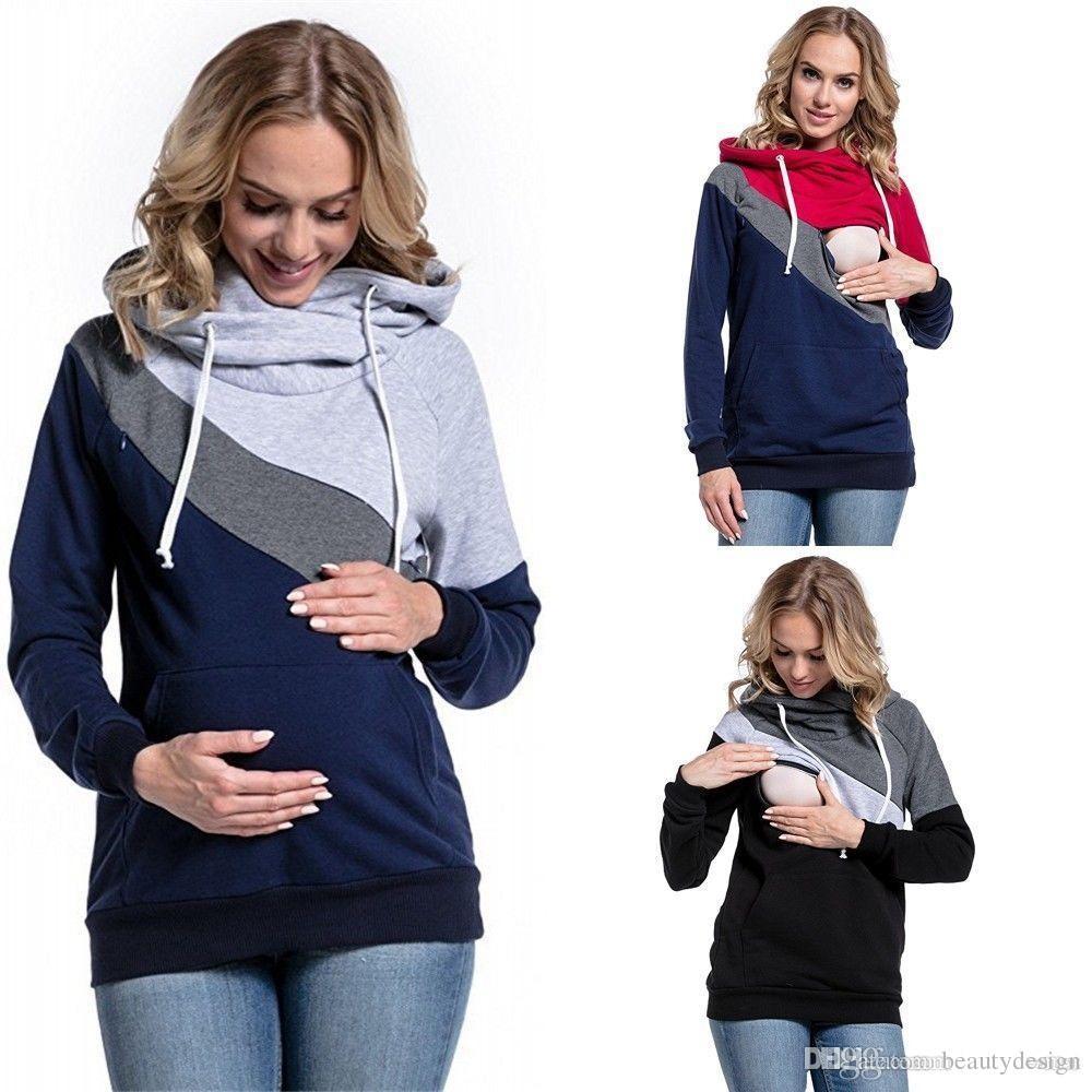 124475a2a Compre 2019 Nuevo Tamaño Plus Embarazo Enfermería Mangas Largas Ropa De  Maternidad Con Capucha Lactancia Tops Tops Patchwork Camiseta Para Mujeres  ...
