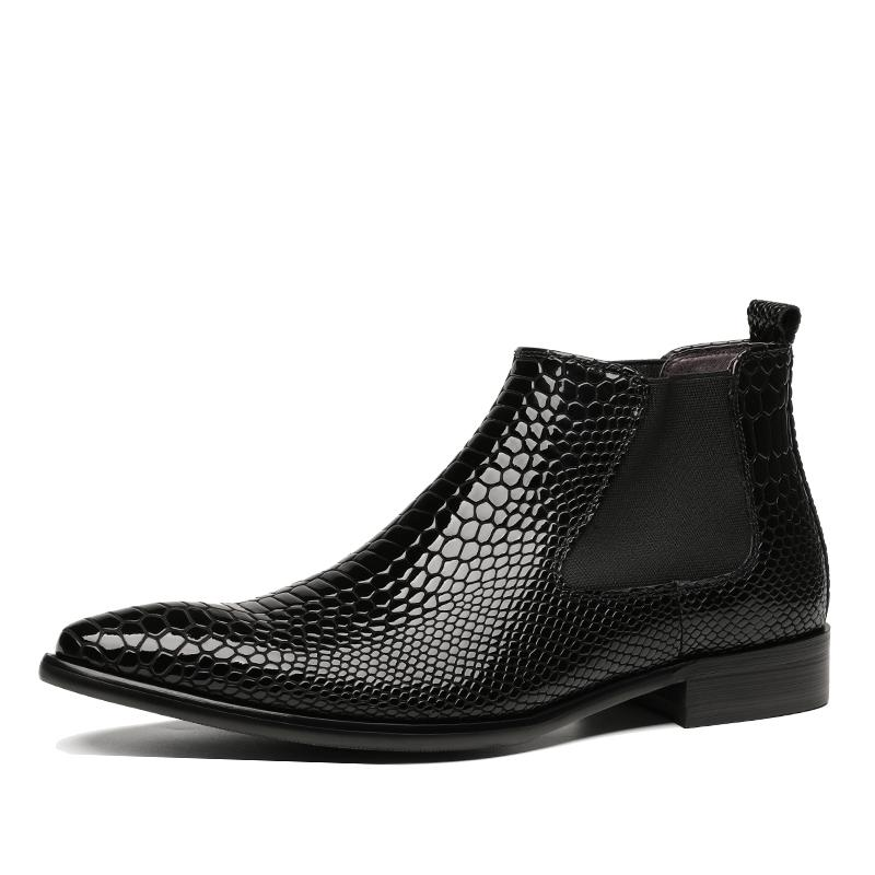 b061970a193 Fashion Black / Wine Red Pointed Toe Serpentine Mens Ankle Boots Patent  Leather Boots Male Dress Shoes Formal Shoes Chelsea Boots Women Monkey Boots  From ...