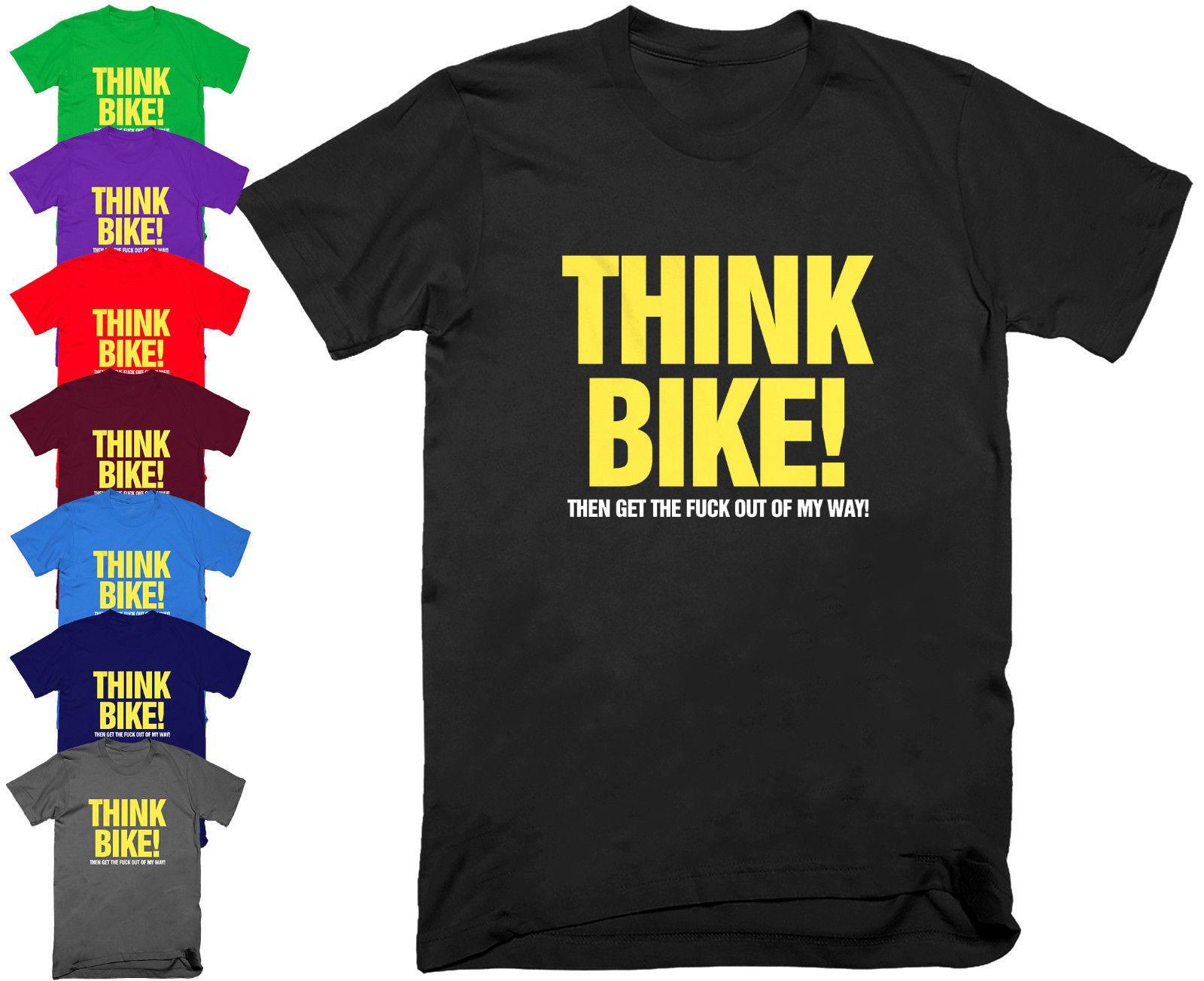 Think Bike Motorcycle Biker T Shirt Funny Birthday Present Gift Dad Top S 5XL Personality Cotton Printed Tea Shirts Fun Tshirts From Coachteeshirt