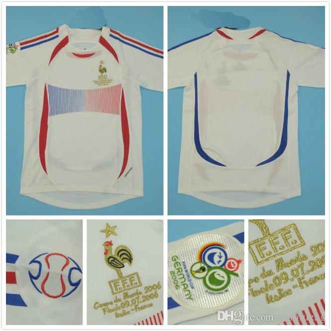 9fb50800f 2019 Top Quaity 2006 WORLD CUP FRANCE 2006 Final Version Men Size Jersey  10 ZIDANE White With MATCH Detial Retro Jersey Classic Jersey.
