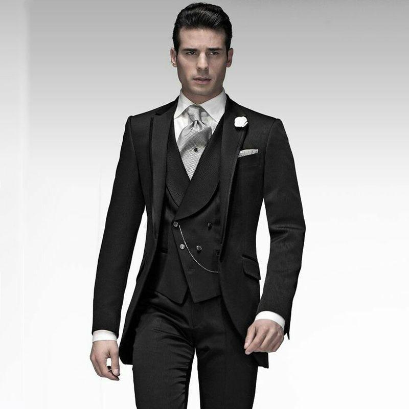 32121060a Compre Mañana Novio Boda Esmoquin Traje Negro Trajes De Hombre Chaquetas  Fiesta De Fiesta 3 Pieza Último Abrigo Pantalón Traje Homme Slim Fit Terno  ...