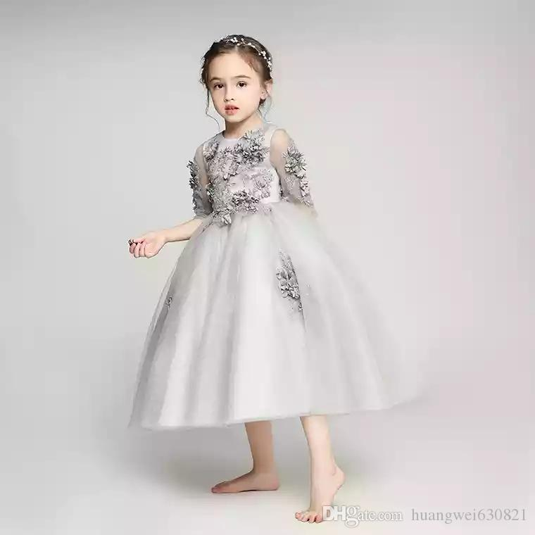 Flower Girl dress Children Princess Dress Girl Long Sleeve Bitter Fleabane Bitter Fleabane Wedding Dress Small Host Show Piano Evening