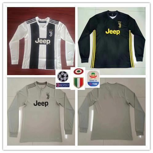 a86581460e4 7 RONALDO DYBALA D.COSTA Long Sleeves Soccer Jersey 18 19 Home Black ...