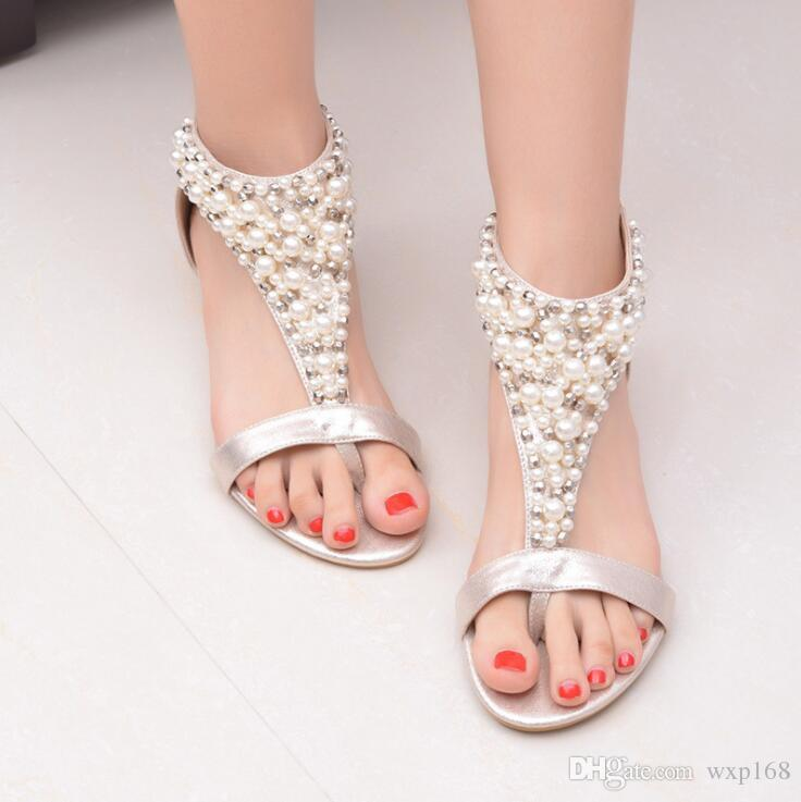 f65a1e4985832c Gladiator Sandals Summer Style Flip Flops Elegant Platform Shoes Woman  Pearl Wedges Sandals Casual Women Shoes Salt Water Sandals Bridesmaid Shoes  From ...