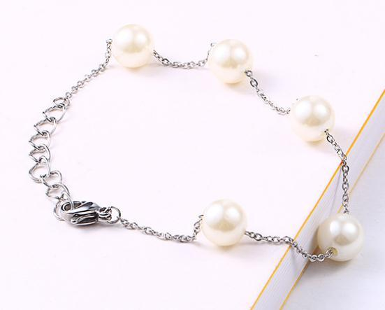 Natural freshwater pearl bracelet titanium steel chain Korean version of the simple best selling fashion beaded ladies bracelet