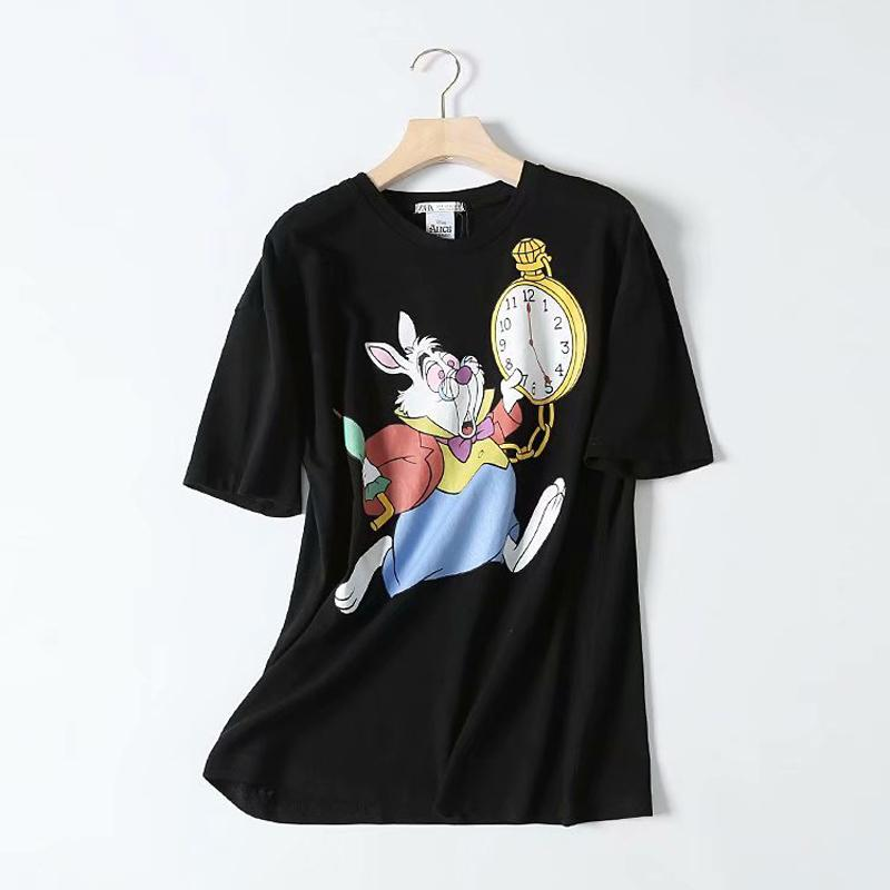 Loose Rabbit Watc Printed Tees Womens Cartoon Animal Printed Tops Women Graphic Summer Tees Female Black Couple Tops Eb5