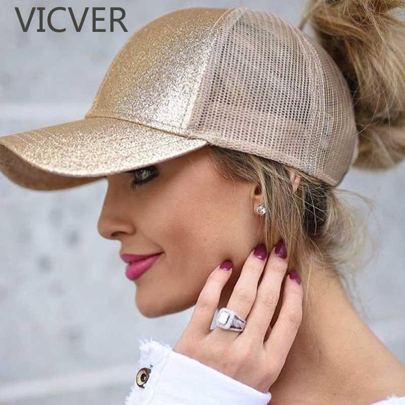 07cccb3addc09 2019 2018 Glitter Ponytail Baseball Cap Women Snapback Dad Hat Mesh Trucker Caps  Messy Bun Summer Hat Female Adjustable Hip Hop Hats From Feiteng006