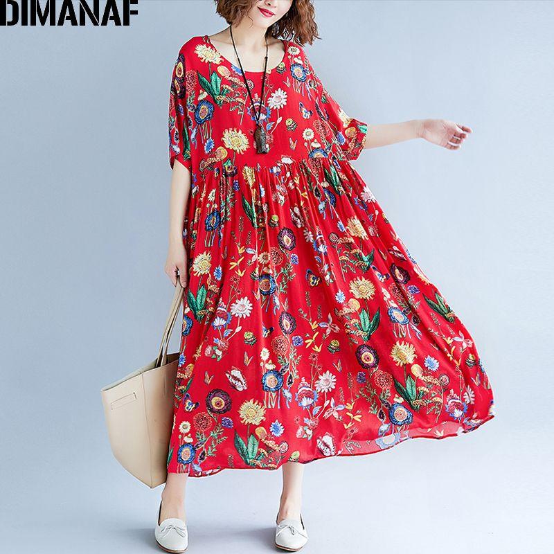 0cb52fb523403 Dimanaf Women Summer Dress Plus Size Print Floral Femme Lady Elegant  Vintage Vestidos Oversized Loose 2018 Holiday Long Dresses Y190514
