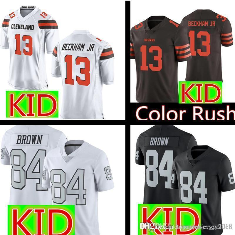 san francisco cb69a f3d09 Youth 13 Odell Beckham Jr Cleveland Kids Browns Jersey Youth Kids Oakland  84 Antonio Brown Raiders Football Jerseys S-XL