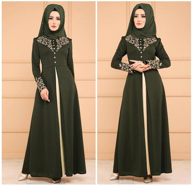 aebcee0abf2e Muslim Green Evening Dresses Long Sleeves Dubai Kaftan Evening Gowns With  Beaded Sash Islamic Abaya Moroccan Formal Party Dresses Maxi Dress Evening  Dresses ...