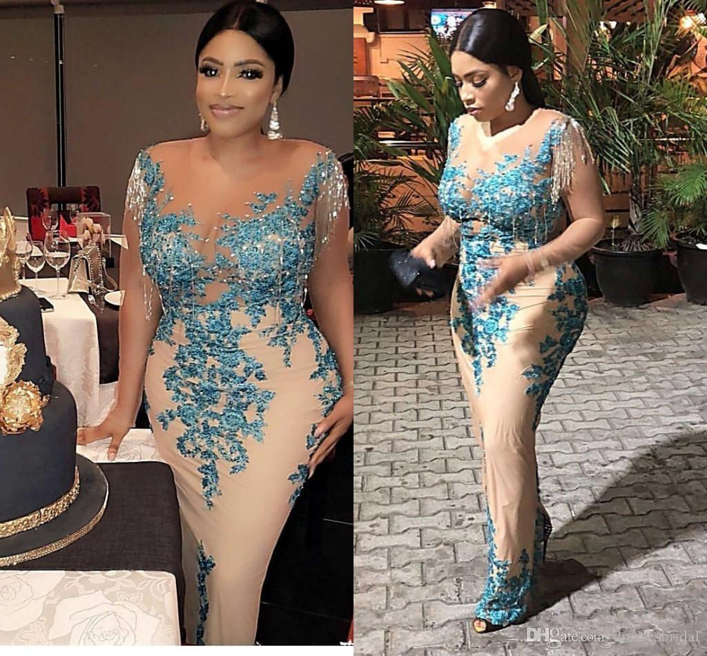 Plus Size African Mermaid Prom Dresses Illusion Bodice Appliques Tassel Long Sleeve Formal Evening Party Gowns Special Occasion Dress