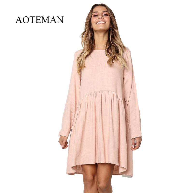 918549d01681a Aoteman Vestido de verano Mujer 2019 Sólido O-cuello de manga larga de  algodón de lino vestido plisado femenino elegante fiesta de playa Vestidos  ...