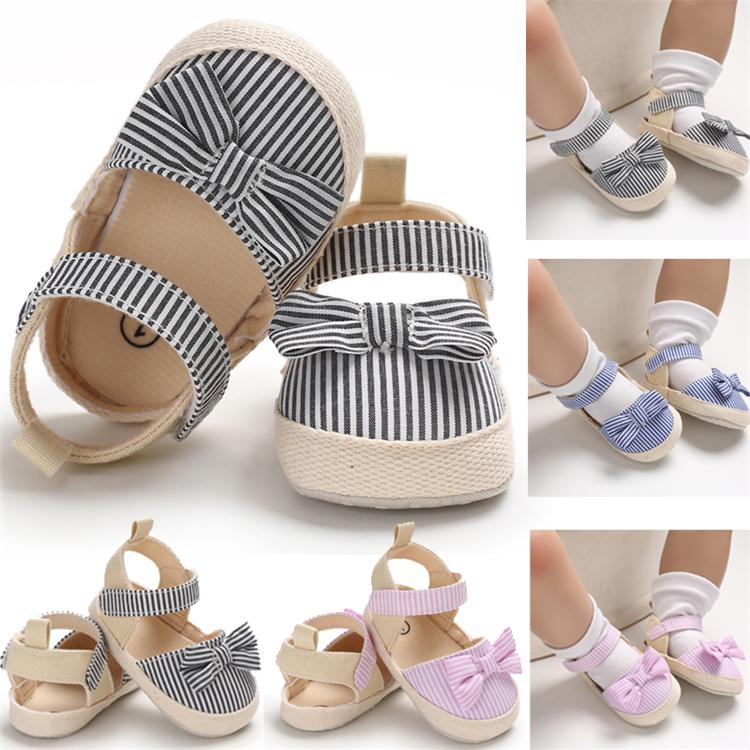 3 Colors Summer Baby Girl Cute Bowknot Sandals Crib Shoes Striped Hook Baby Causal Soft Sole Shoes Outfit 0-18M newborn shoes FJ262