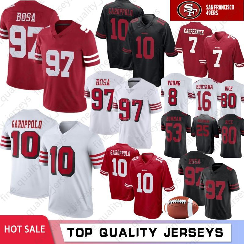 buy online d1bf1 7b3aa 97 Nick Bosa 10 Jimmy Garoppolo San Francisco 49ers Jerseys 7 Colin  Kaepernick McGlinchey 56 Reuben Foster 80 Jerry Rice 16 Montana