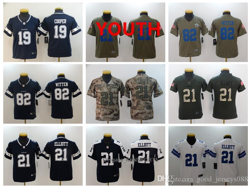 low priced 2cee2 41860 Youth Dallas Football Cowboys Jersey 21 Ezekiel Elliott 19 Amari Cooper 82  Jason Witten Color Rush All Stitching Jerseys