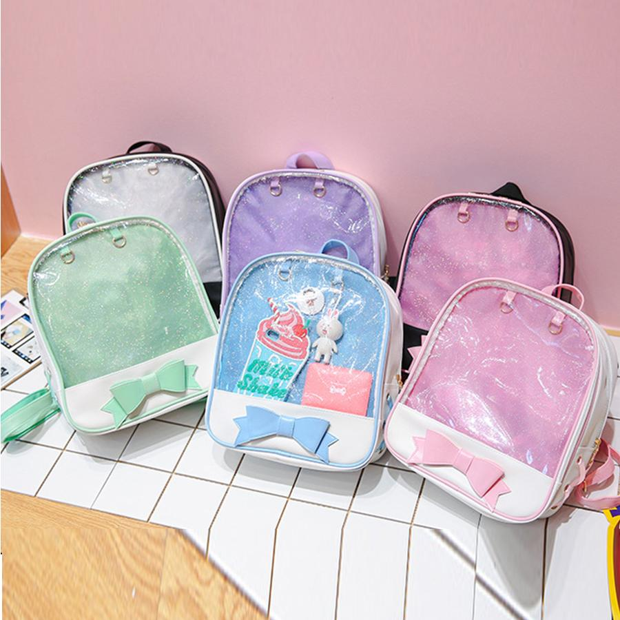968502d73efb Clear Transparent Women Backpack Cute Bow Ita Bags For School Mini ...