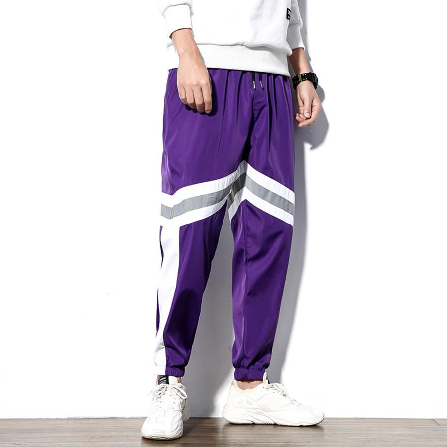 Men Trousers Stripes Reflective Harem Joggers Big Size Loose Hip Hop Stylish Pants Men Jogging Streetwear Pantalon Homme casual
