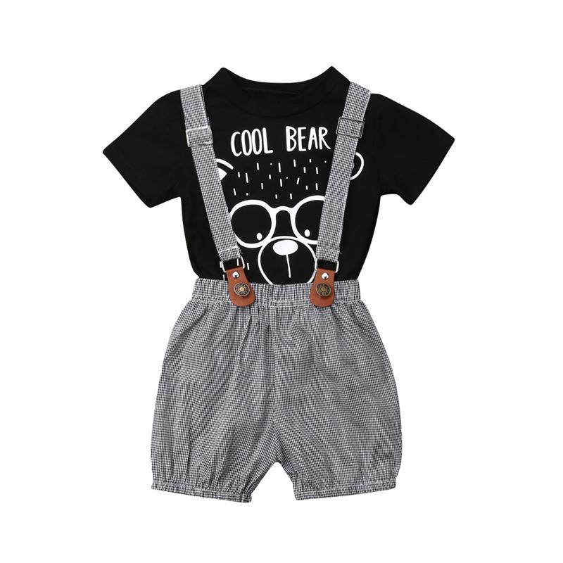 New Toddler Baby Girl Clothes Cartoon Bear T Shirt Tops+Plaid Bib Pants Overall Suspender Pants 2Pcs Baby Clothing Kids Outfits