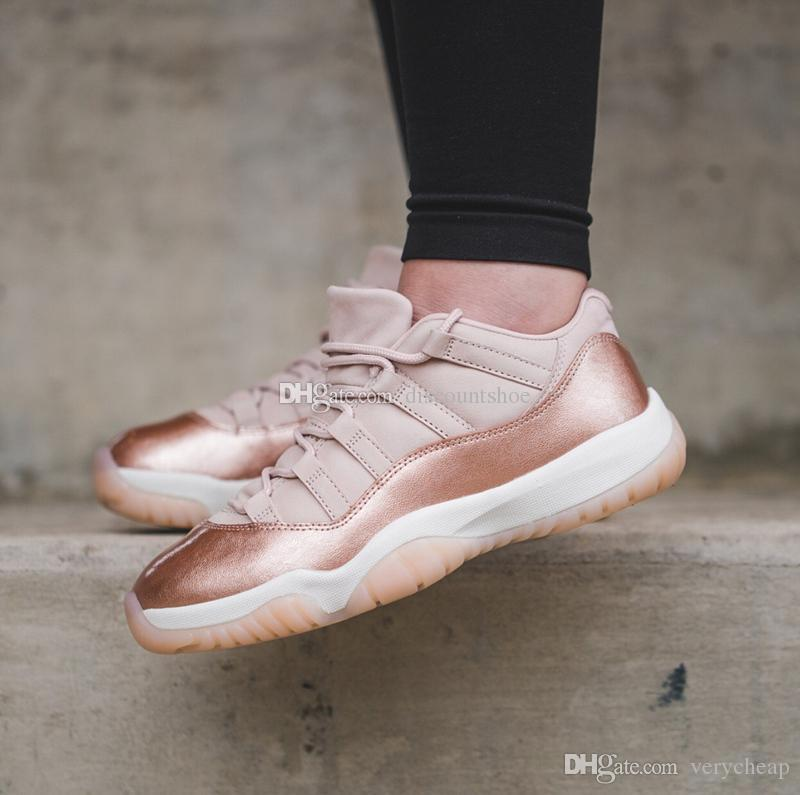 2b78d357908ffd 2019 11 Low Women Rose Gold Womens Climbing Shoes 11s Low Rose Gold  Wholesale For Sale Us 5.5 8.5 Come With Box From Verycheap