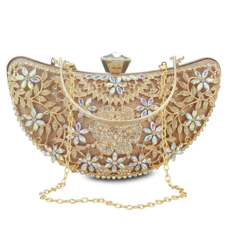 Bridal Metal Clutch Floral Bag Women Crystal Gold Evening Bag Wedding Party Handbags  Purse Lady Diamond Rhinestone Clutches D18110106 Leather Bags Shoulder ... a34d1b7ed1888