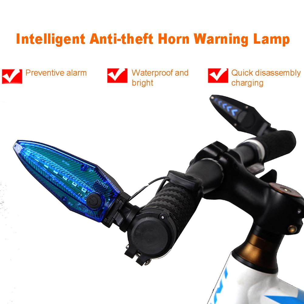 1Pair Anti Theft USB Charging External Alarm Horn Bike Light Portable Turn Signal ABS 360 Degree Rotatable Highlight LED