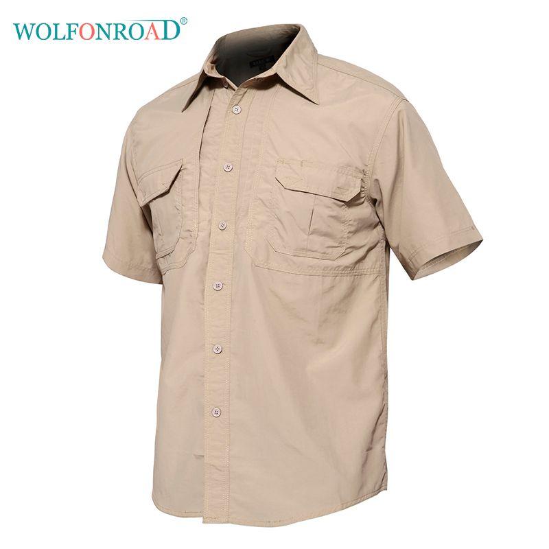 2019 WOLFONROAD Men S Quick Dry Shirt Waterproof Outdoor Hiking Shirt  Tactical Short Sleeve Male Combat Hunting Shirts L JNE 02 From Pretty05 60c118b23b6