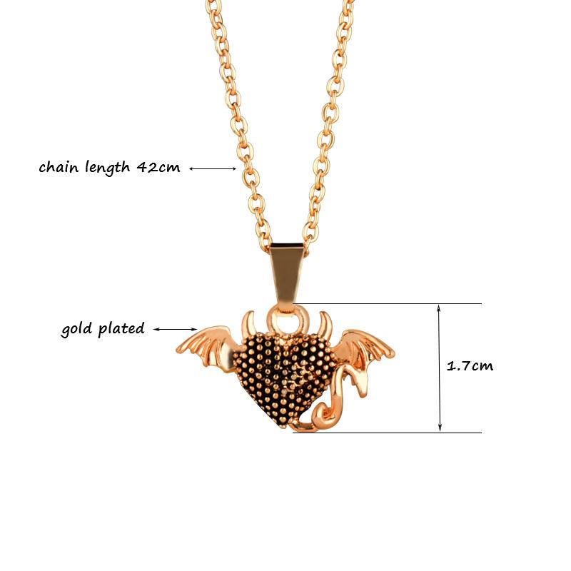 Colar de pingente de coração do diabo para as mulheres ouro antigo cor prata elo da cadeia presente da jóia custar Xl472 SSB