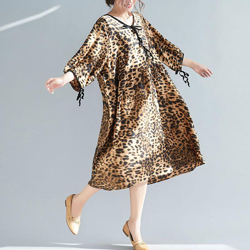 8afb20d2a5 Plus Size Women Summer Beach Dress Elegant Lady Vestidos Leopard ...