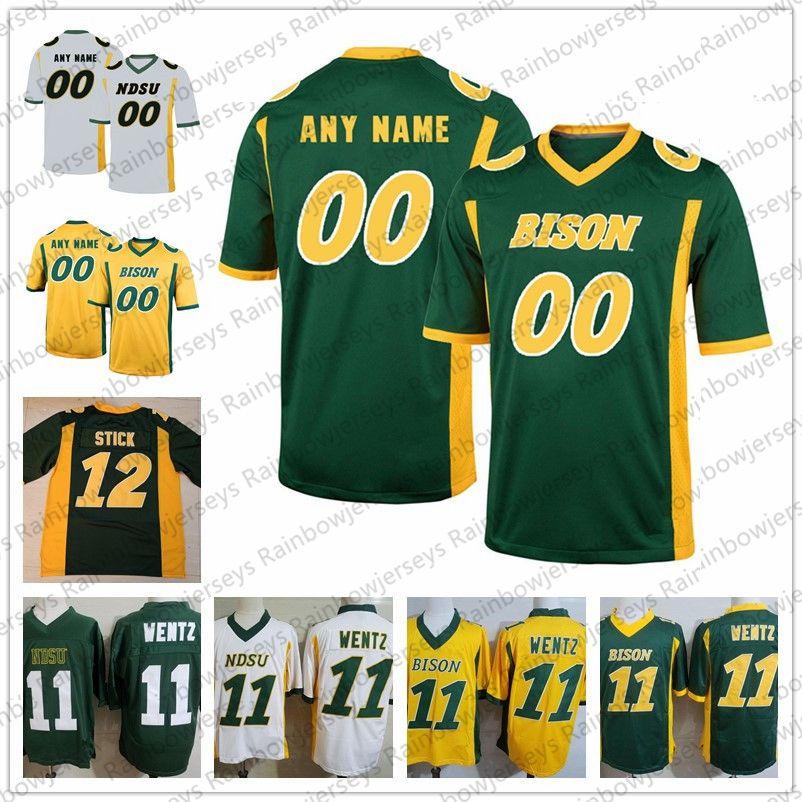 first rate 3854f cb1fc NCAA NDSU Bison Football Jersey Any Number Name 11 Wentz 12 Easton Stick  Mens 13 Desmond Cain 96 Greg Menard North Dakota State