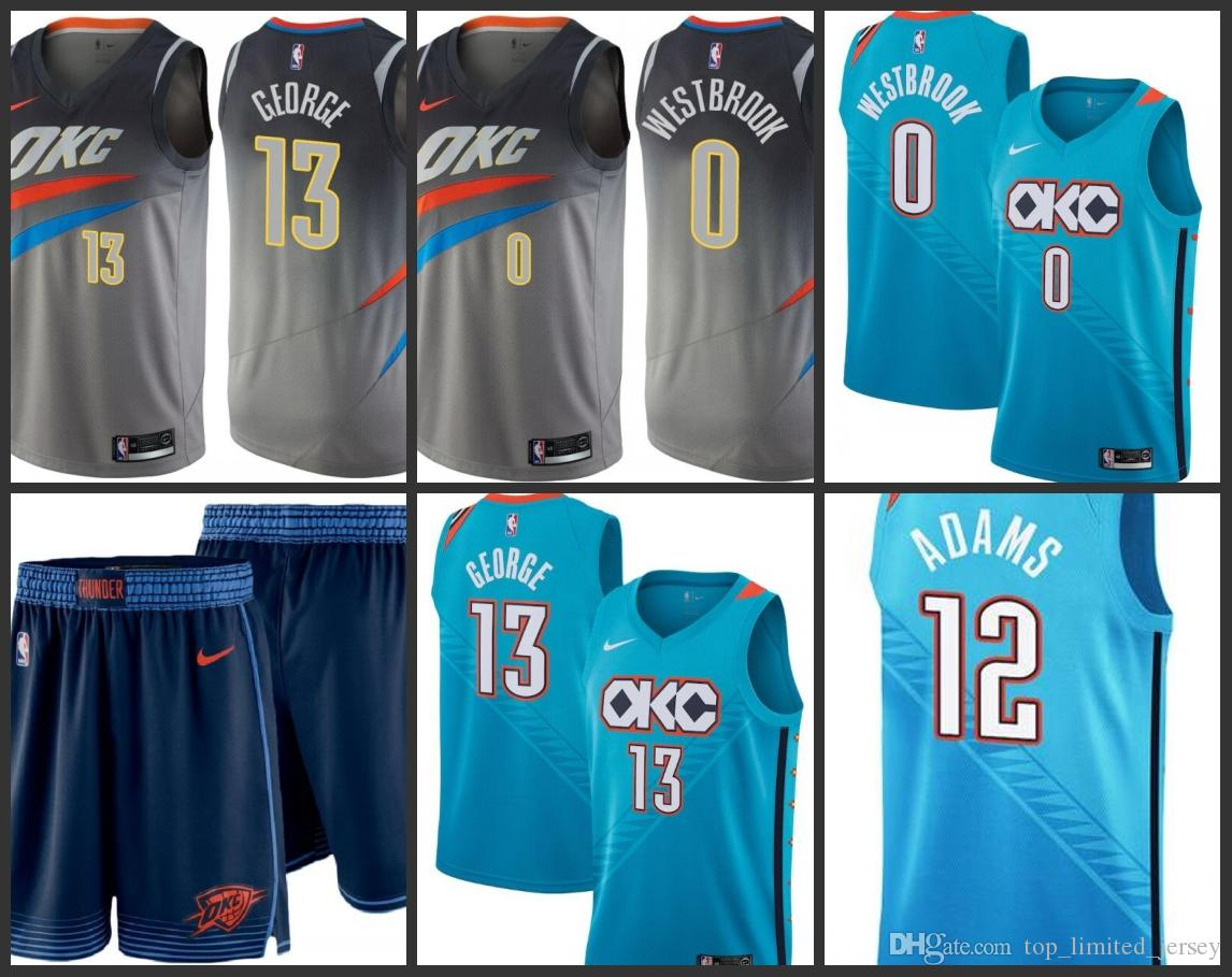new product 62d62 c25ba 2019 Oklahoma Men City Thunder Jersey Paul George Russell Westbrook Steven  Adams City OKC Edition Jerseys Free shipping