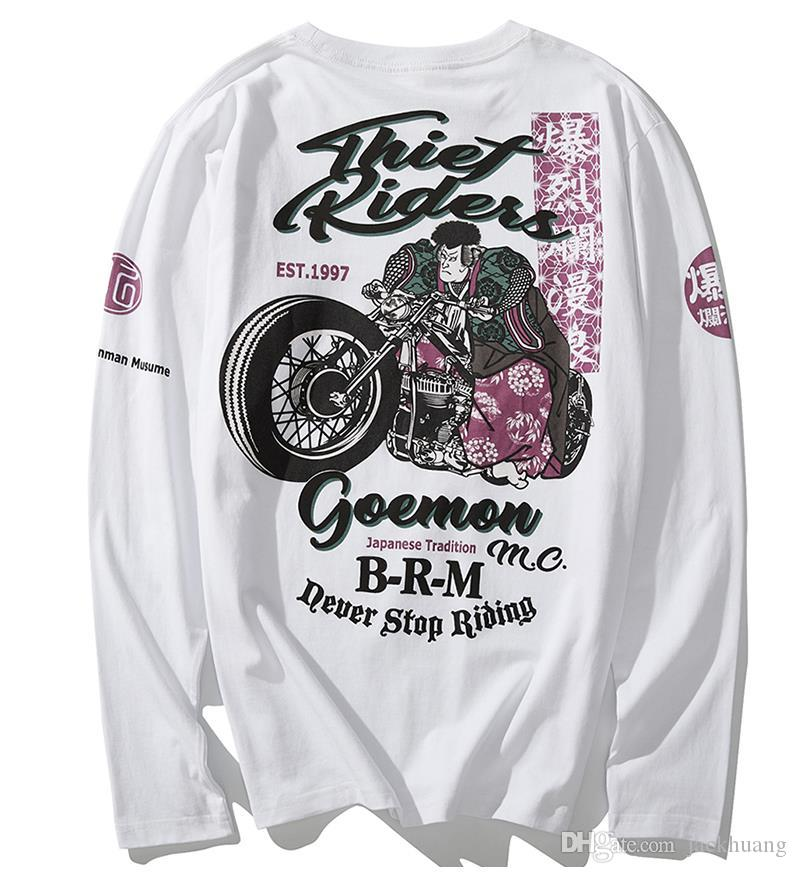 Mens Biker Motorcycle T Shirt Casual Long Sleeve Samurai Ukiyoe Print MC T-shirt Cotton Loose Rock Hip Hop Tee M-3XL