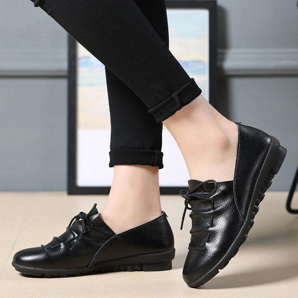 ec993c96c75 Dress Shoes 2019 Women S Leather Pumps New Fashion Spring Summer Leisure  Round Toe Ankle Leather Solid Lace Up Waterproof Loafer Mens Sandals Mens  Trainers ...