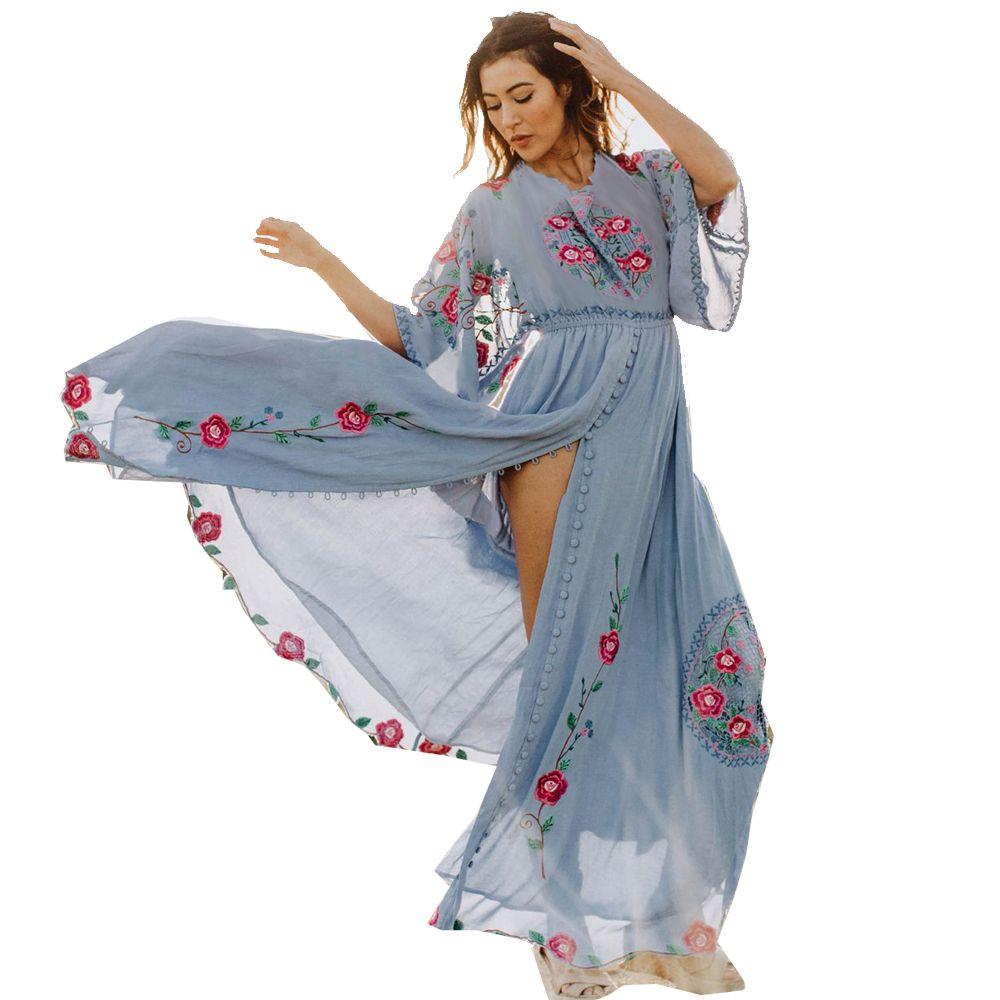 787ba5e6800 Acheter Meilleur   Maxi Robe Bohème 2019 Noir Blanc Bleu Broderie Floral  Boho Mode Casual Bouton Soft Femmes Été Robes Décontractées De  86.44 Du ...