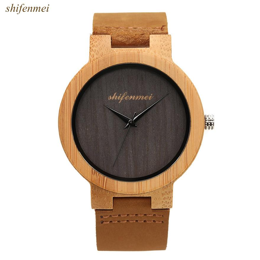 f1ef369a27e Luxury Wood Watch Wooden Watches No Number Creative Men S Watch Men Clock  Reloj Madera Relogio Masculino Montre Homme Affordable Watches Good Watches  From ...