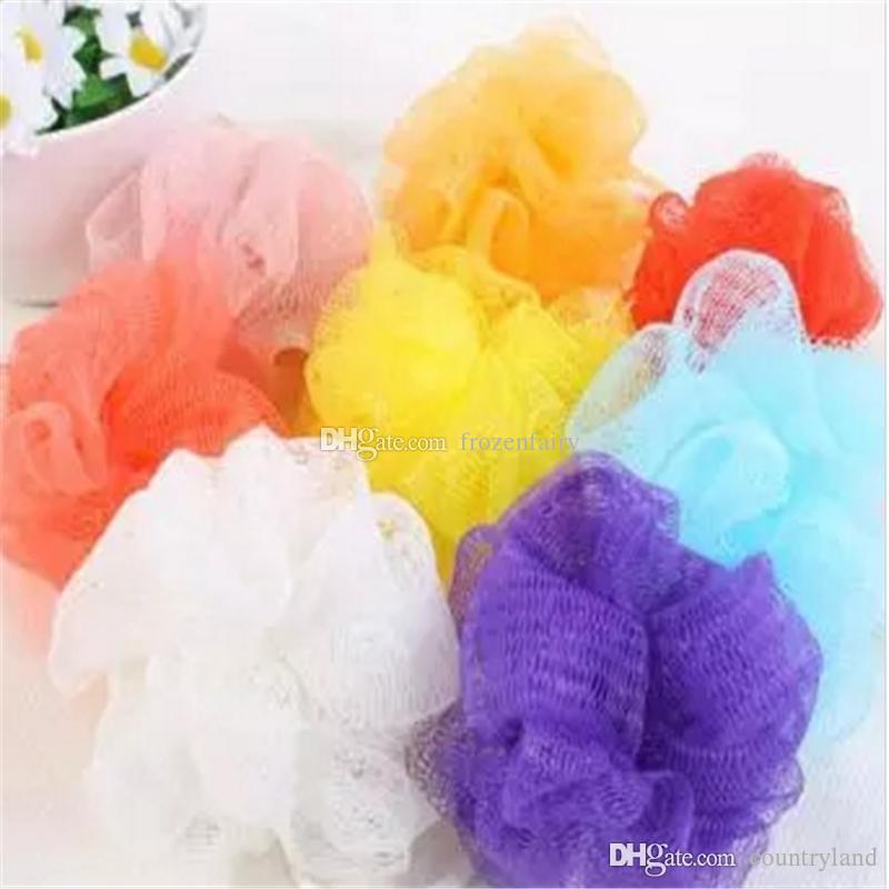 High Quality Mesh Pouf Sponge Bathing Spa Shower Scrubber Ball Colorful Bath Brushes Sponges aa201-aa208