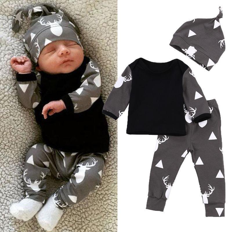 5b43a27e02e05 Compre Bebé Recién Nacido Niño Niña Ropa Conjunto De Manga Larga T Shirt +  Pants + Hat 3 Unidslote Mucho Ropa De Bebé Conjuntos Niños Niños Bebes  Traje ...