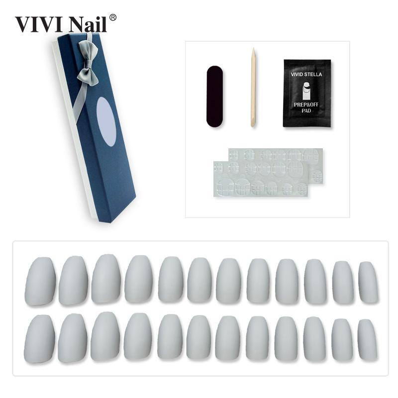 Matte Pre-glue Coffin False Nails in Box Velvet Matte Full Cover Press on Fake Nail Tips ABS Nail Art