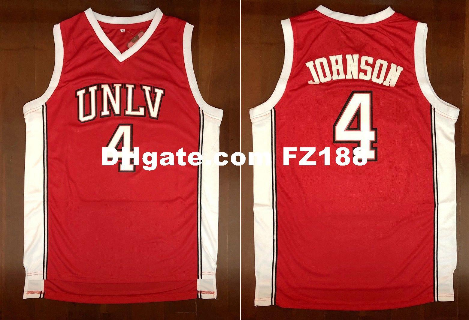 info for 44728 f6fba Larry Johnson #4 UNLV Rebels STITCH Men s Basketball Stitched Jersey XS-6XL  Red