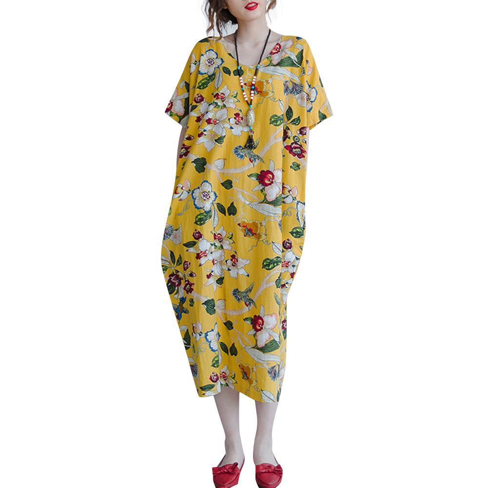 c142c9e7e623 Mujeres Vintage Floral Print vestido Kaftan bolsillos de algodón 5XL  Vestidos de gran tamaño para mujer Boho Vestidos sueltos ocasionales más ...