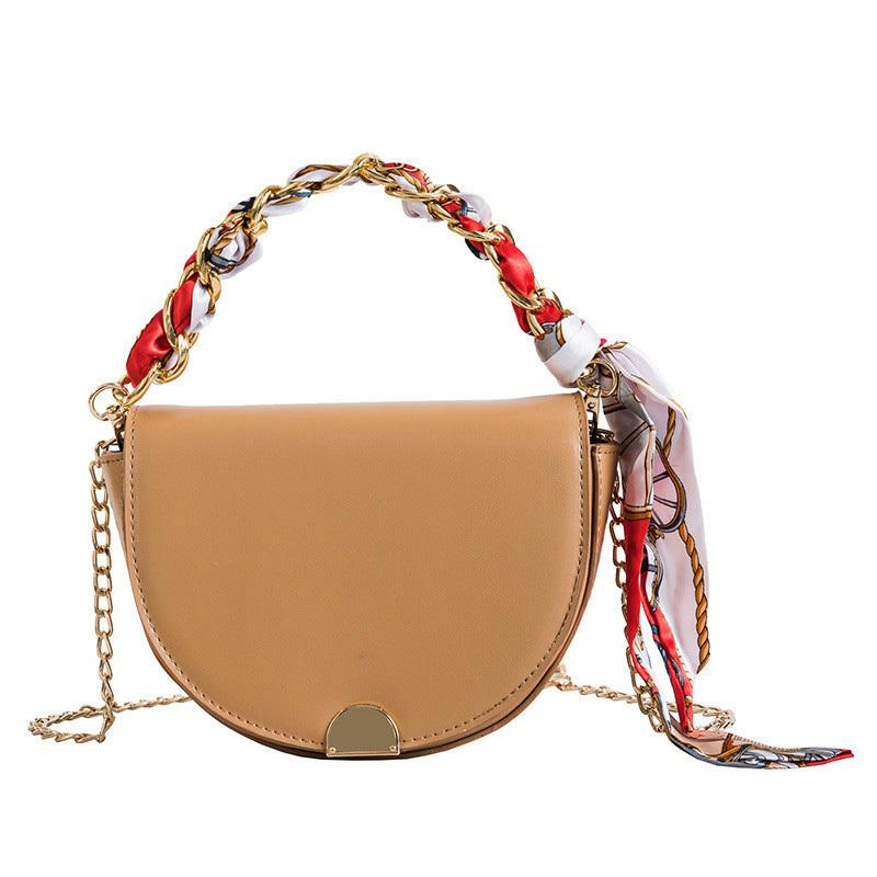 0a2bf35b5a91 European Fashion Ladies Saddle Bag 2019 New Quality Pu Leather Women's  Designer Handbag Scarf Tote Chain Shoulder Messenger Bags