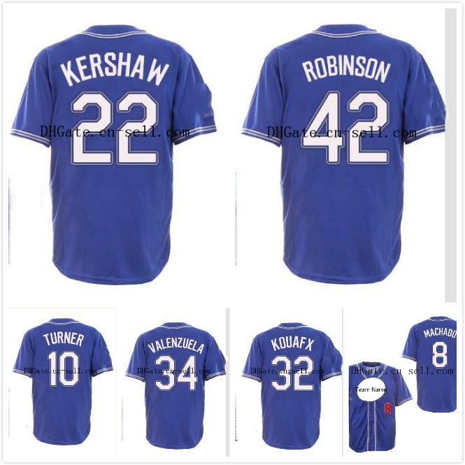 lowest price bceaa 69a0c 8 Manny Machado Los Angeles 22Clayton Kershaw Justin Turner Robinson 32  Koufax 34 Valenzuela Blue Style Baseball Jersey Men Lady Youth Tod