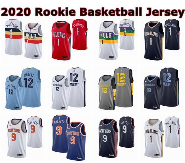 newest collection 0e8b1 573ff 2020 Rookie Basketball Jersey Authentic 1 Zion Williamson 9 RJ Barrett 12  Ja Morant Mens Youth Kids Swingman Basketball Jerseys Embroidery