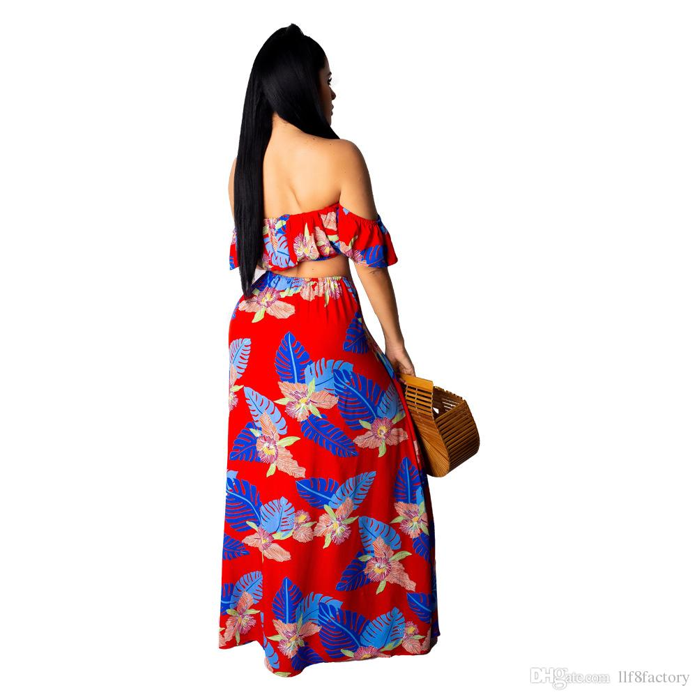 2018 new fashion print short-sleeved sexy strapless high slit design two-piece work skirt 9151