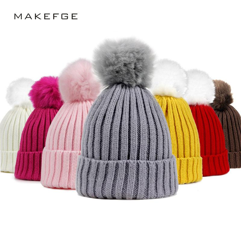 Fur Pompom Hat Winter Kid Hats Skullies Beanies Child Warm Caps Elasticity  Knit Beanie Hats Children Fur Pom Pom Hats Girls Boys S1218 Black Baseball  Cap ... c5f723f5acd