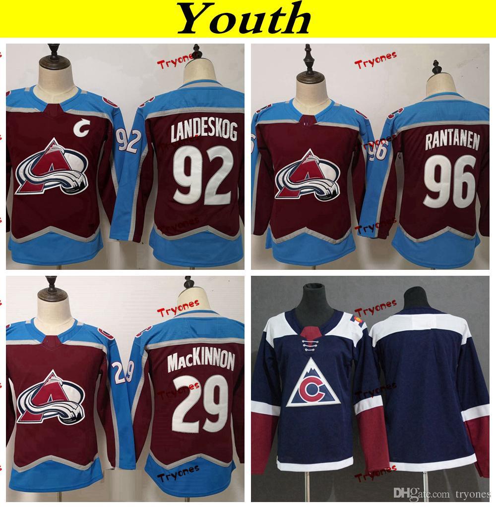 dfbbf0dca ... 2019 youth colorado avalanche 2019 29 nathan mackinnon 92 gabriel  landeskog 96 mikko rantanen hockey