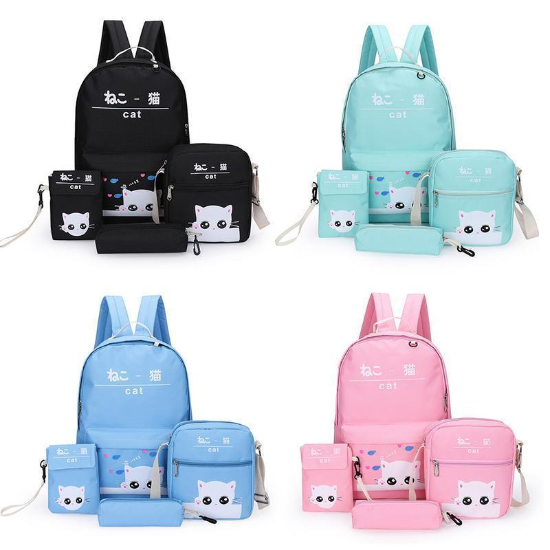 1c4cc5c90 4pcs A Set Backpack Japan Korean Fashion Cartoon Cute Cat Bag Small Print  Preppy Style Student School Backpacks For Teenage Girl