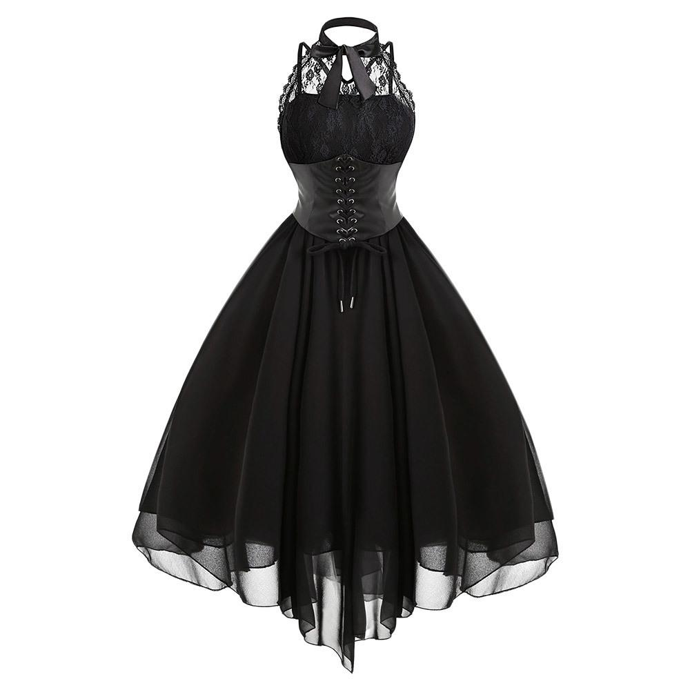 Gamiss 2017 Gothic Bow Party Women Vintage Black Sleeveless Cross Back Lace Panel Corset Swing Dress Robe Vestidos Femme Q190425