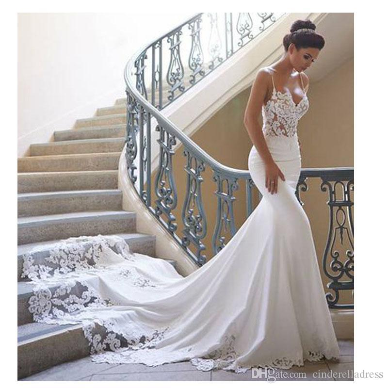 Wedding Dress Styles 2019: Vintage Spaghetti Straps Mermaid Wedding Dresses Long